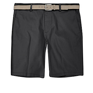 Dark grey belt detail slim fit shorts