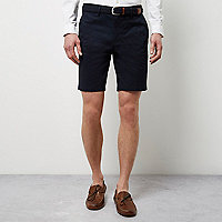Navy belt detail slim fit shorts