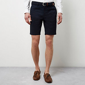 Navy belted chino shorts