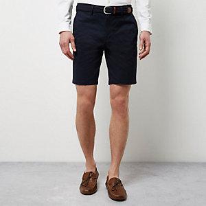 Short chino bleu marine à ceinture