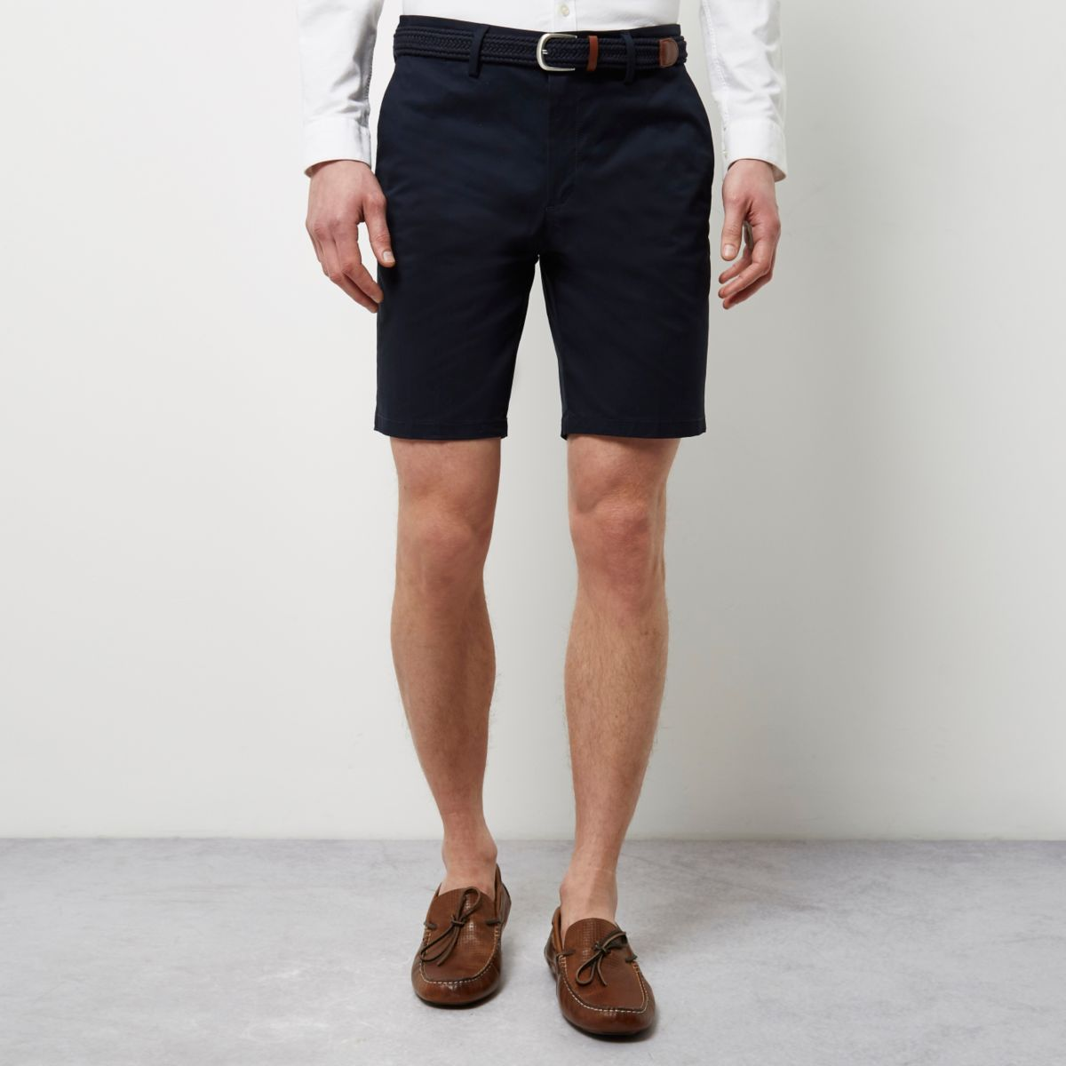 Mens Navy belted chino shorts River Island nMdEJmCRtc