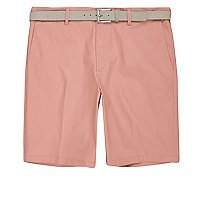 Pink belt detail slim fit shorts
