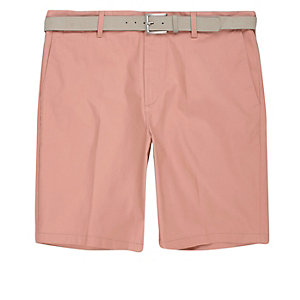 Pink belt detail slim fit shorts