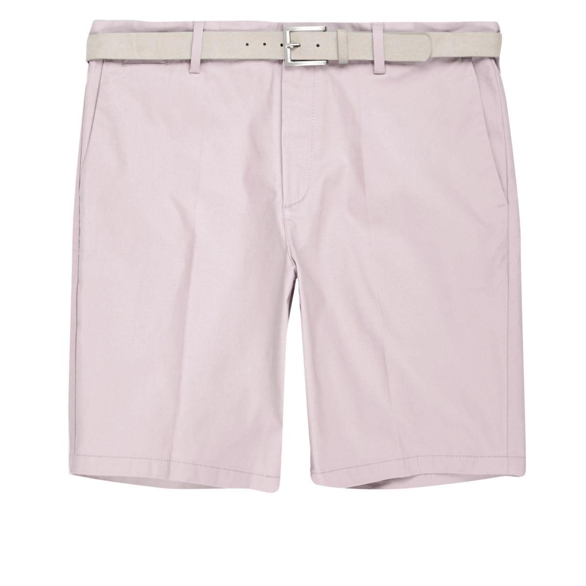 Light pink belt detail slim fit shorts