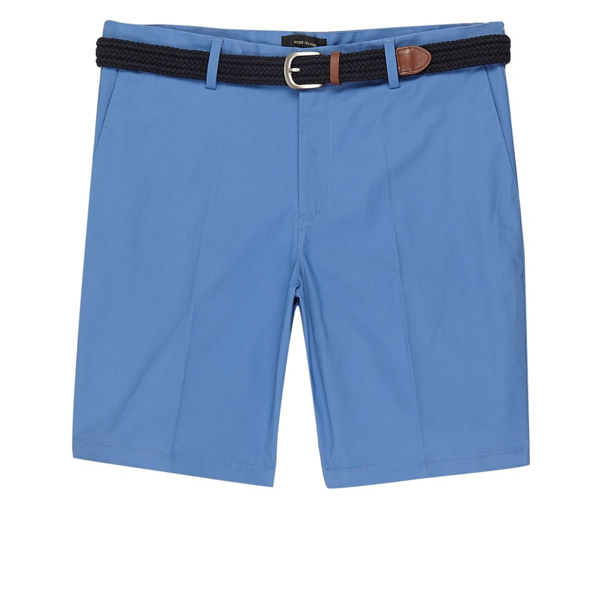 Blue belt detail slim fit shorts