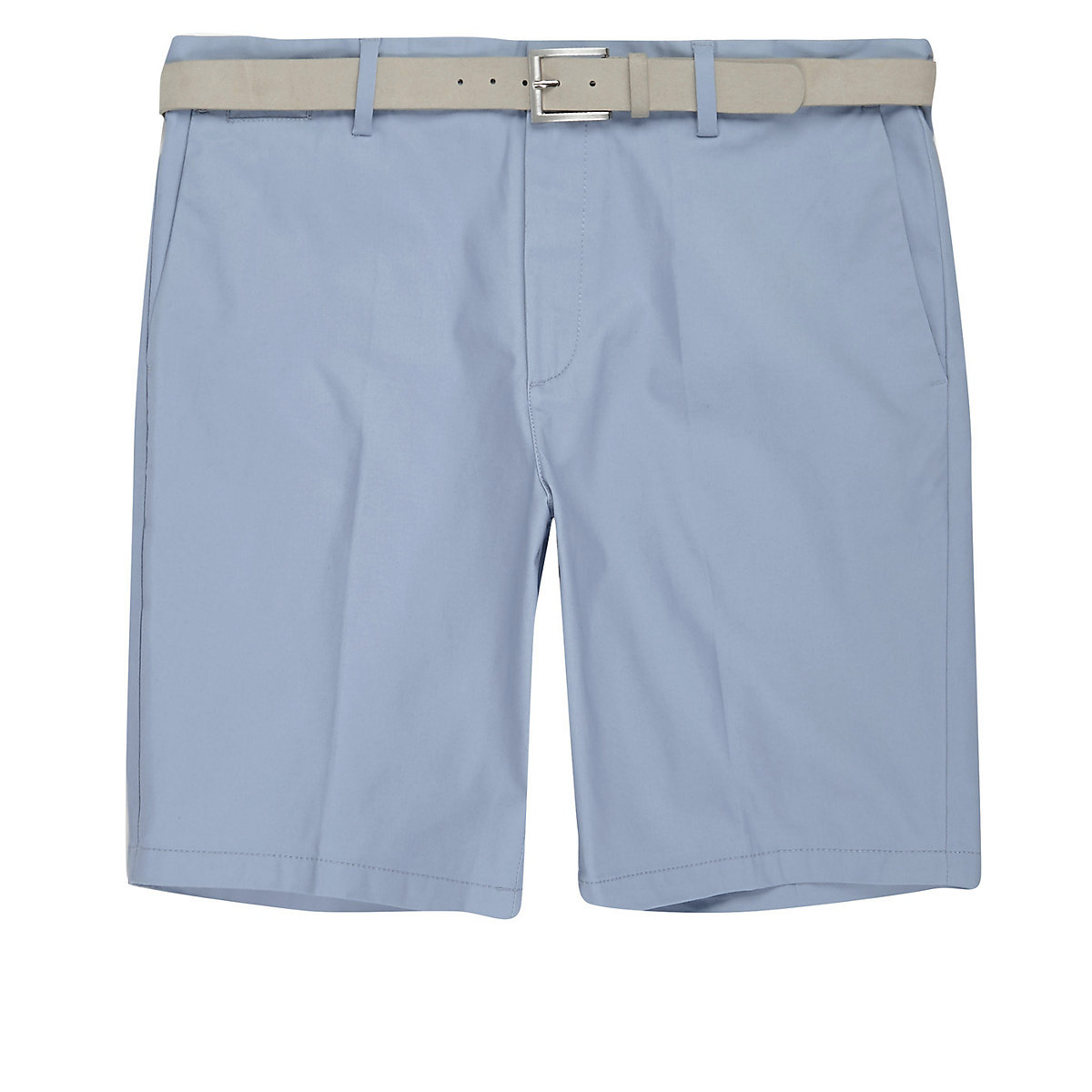 Light blue belt detail slim fit shorts