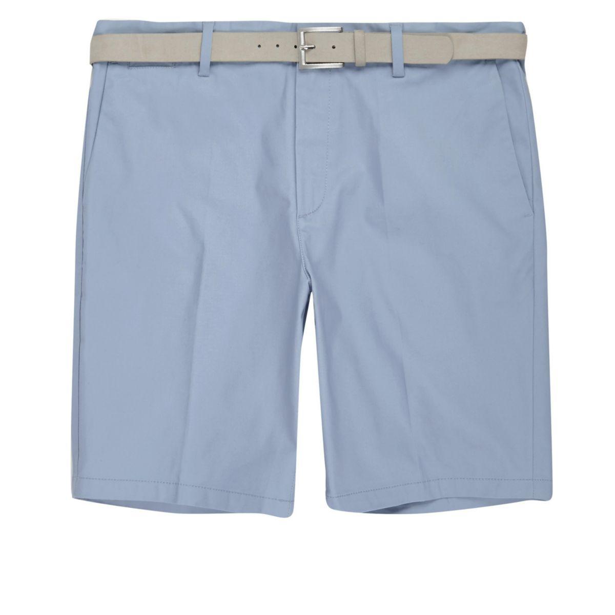 Light blue belt detail slim fit shorts