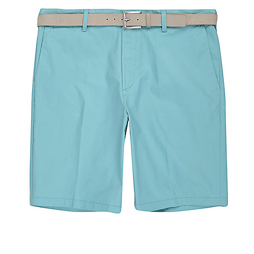 Green belt detail slim fit shorts
