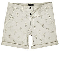 Beige palm tree print turn up shorts