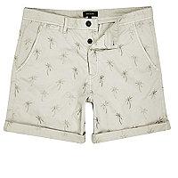 Beige Shorts mit Palmenmotiv