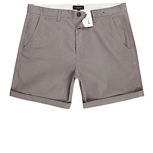 Grey slim fit rolled up shorts