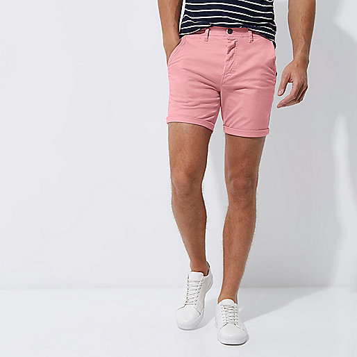Pink slim fit rolled up shorts
