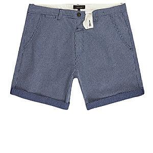 Short slim bleu marine texturé