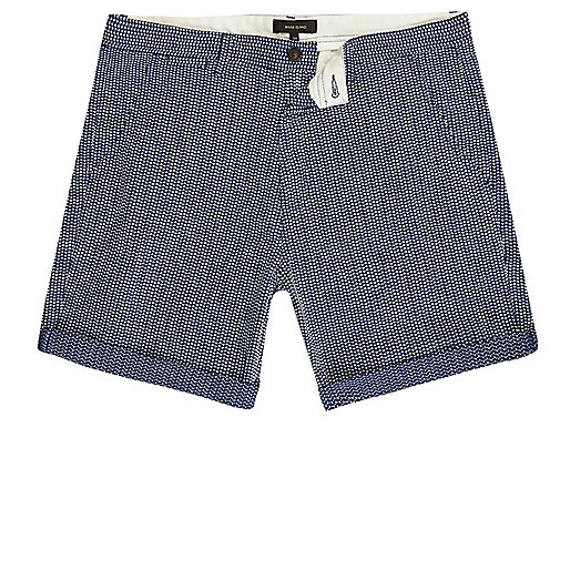 Navy blue textured slim fit shorts