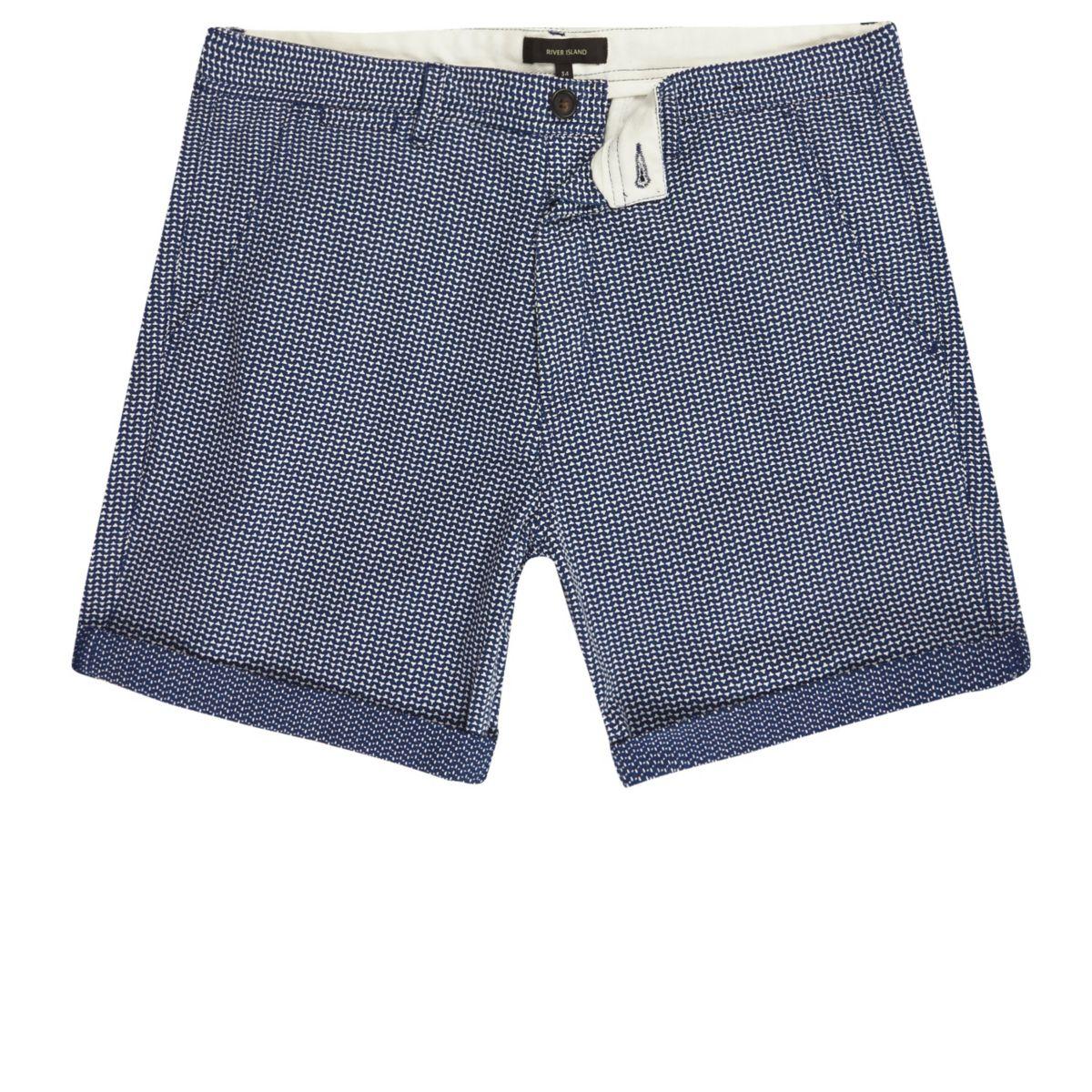 Navy blue textured slim fit shorts