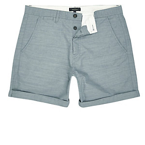 Grüne, strukturierte Slim Fit Shorts