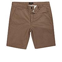 Brown slim fit shorts