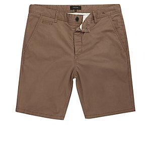 Bruine slim-fit short