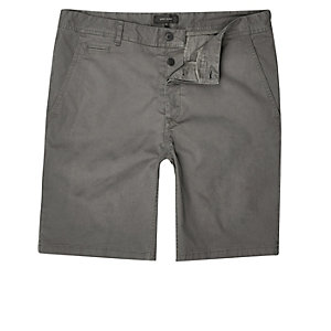 Dark grey slim fit casual shorts