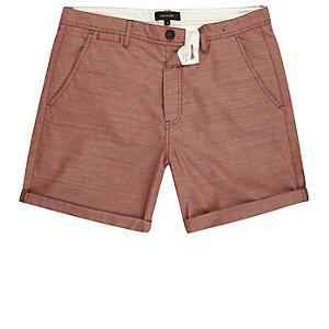 Red textured slim fit casual shorts