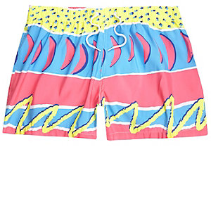 Pink retro abstract print swim trunks