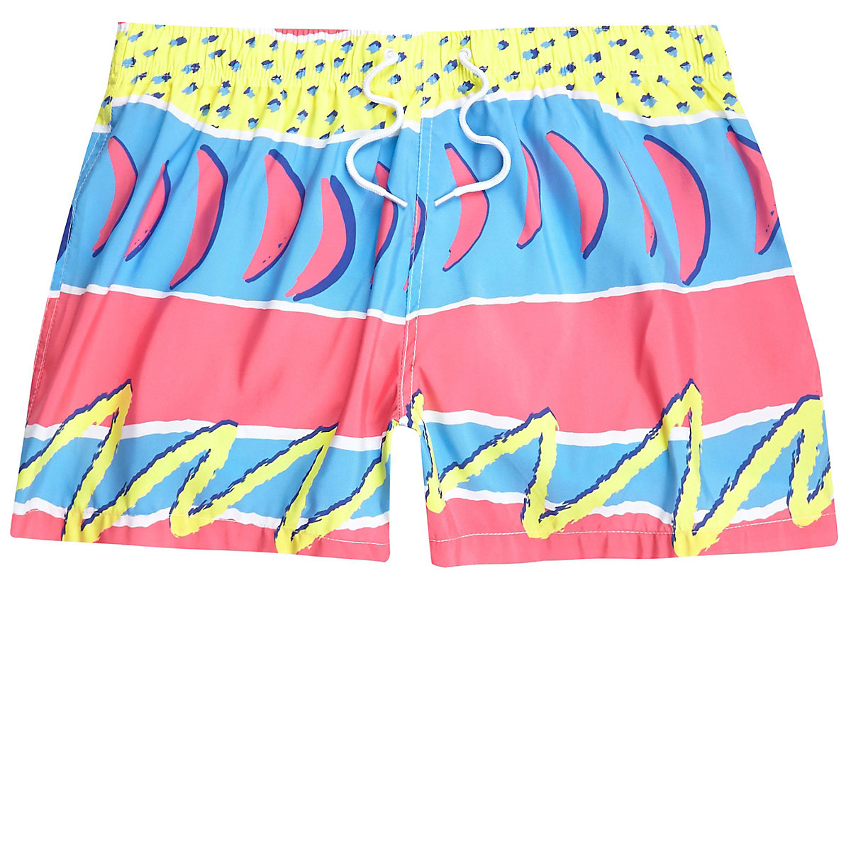Pink retro abstract print swim shorts