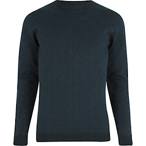Navy Only & Sons textured crew neck jumper