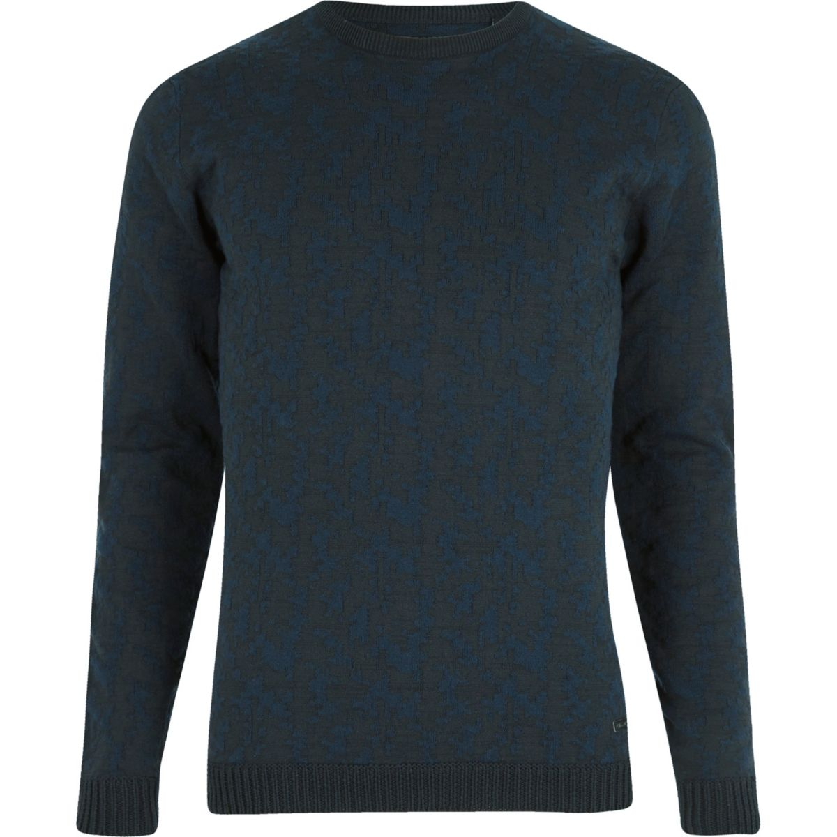 Navy Only & Sons textured crew neck sweater