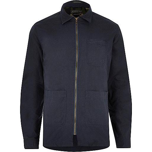 Navy Jack & Jones pocket zip shirt