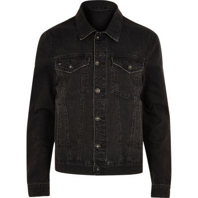 Zwarte wash distressed denim jacket