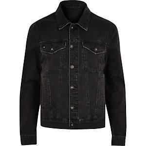 Schwarze Jeansjacke im Used Look