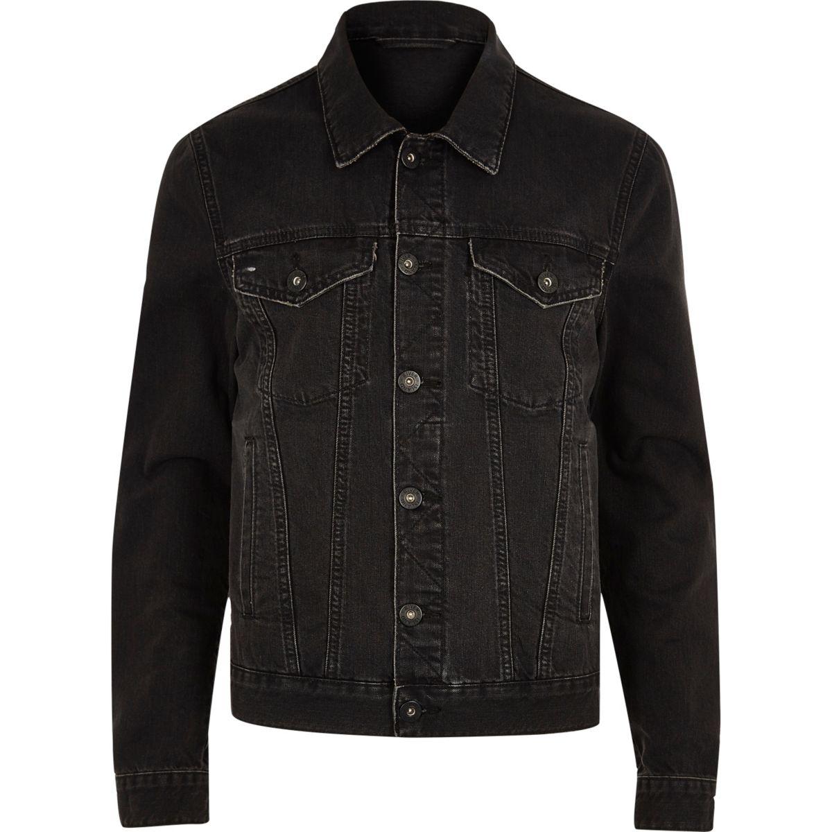 Black wash distressed denim jacket