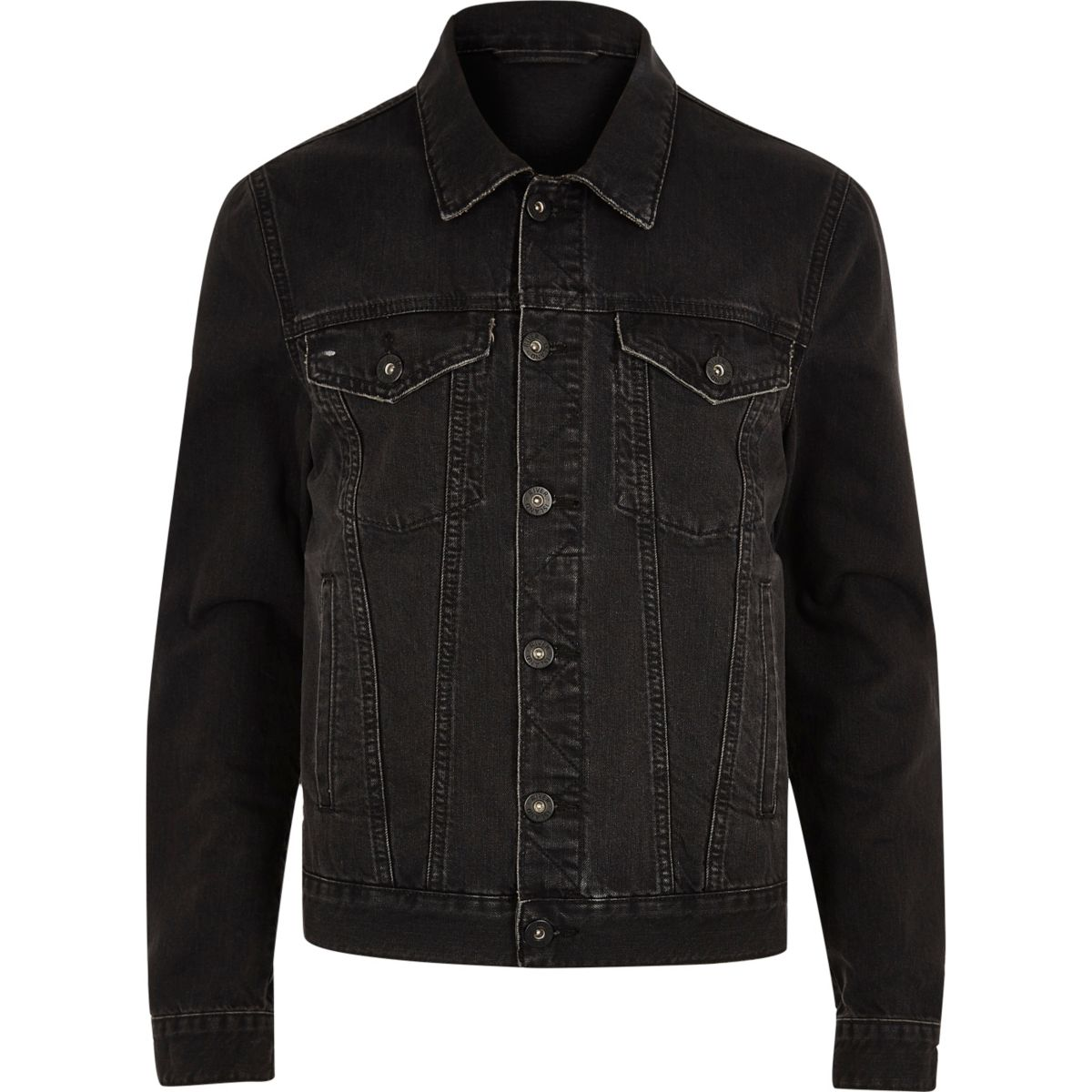 Veste en jean noire aspect usé