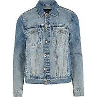 Blue wash distressed denim jacket