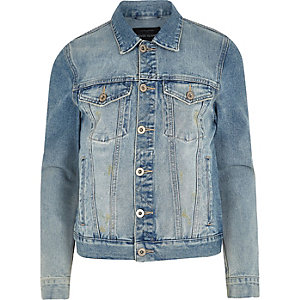 Blue wash distressed denim jacket
