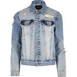 Light blue casual distressed denim jacket