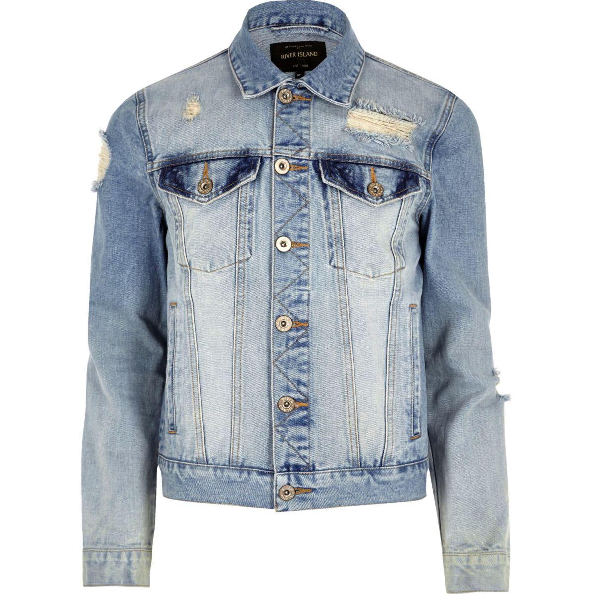 Light blue casual distressed denim jacket