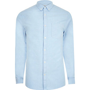 Blauw casual skinny-fit Oxford overhemd