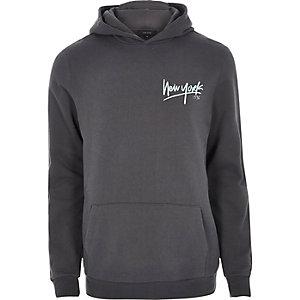 Donkergrijze 'New York' hoodie