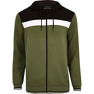 Khaki green colour block sporty hoodie