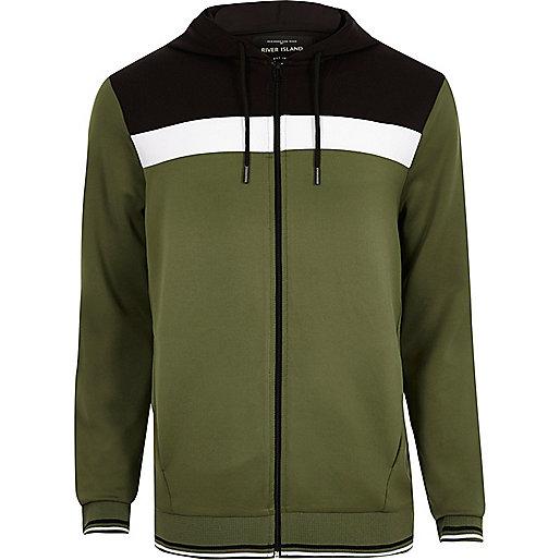 Khaki green colour block sporty hoodie