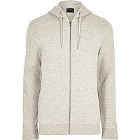 Grey piqué zip front hoodie