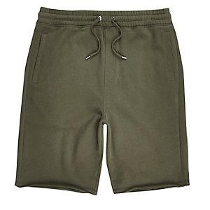 Khaki green longer length jogger shorts