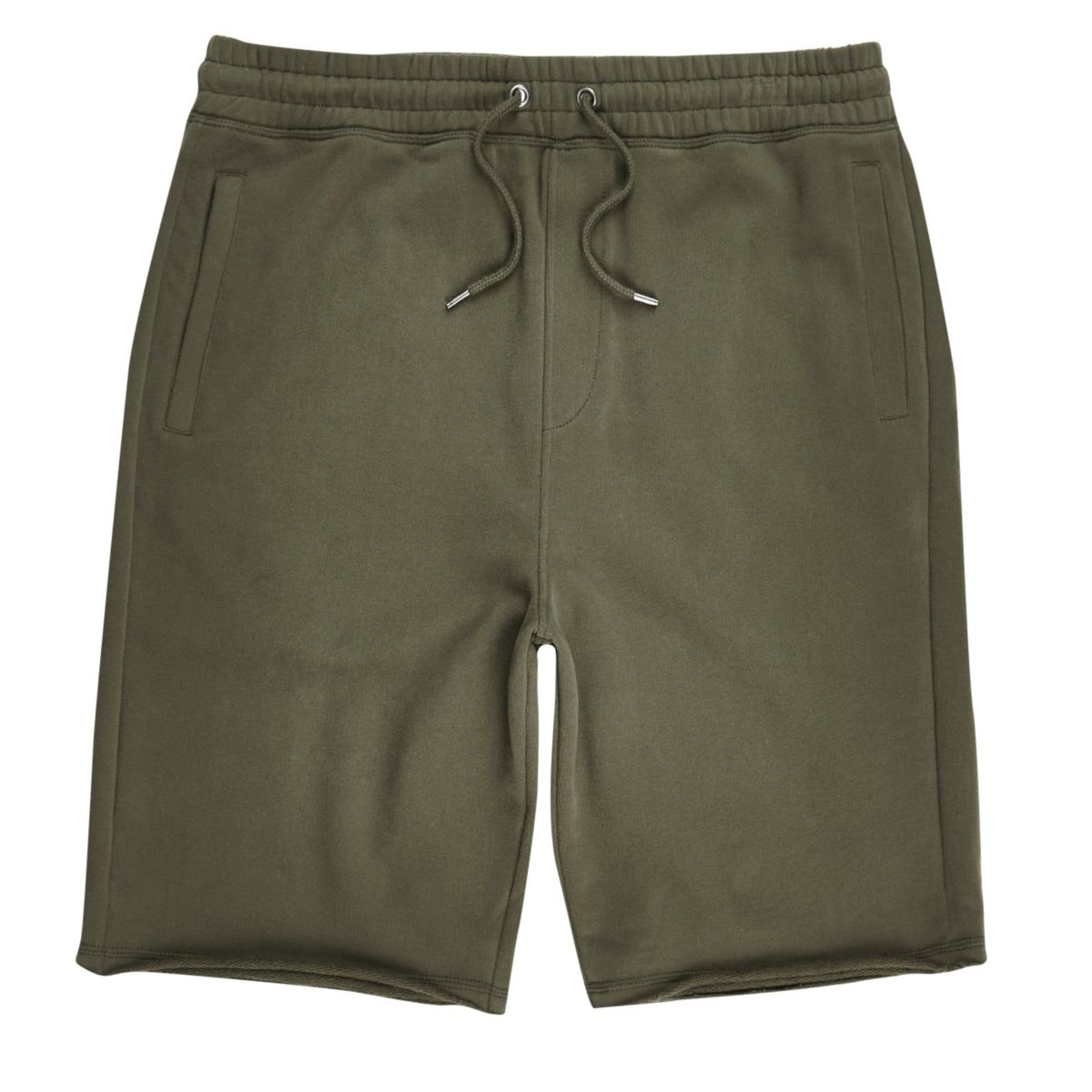 Khaki green longer length jogger shorts