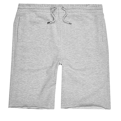 Grey marl longer length jogger shorts