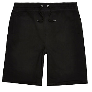 Black longer length jogger shorts