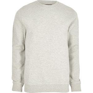 Graues Pikee-Sweatshirt mit Rundhalsausschnitt