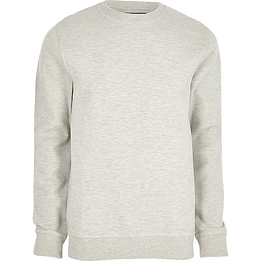 Grey piqué crew neck sweatshirt