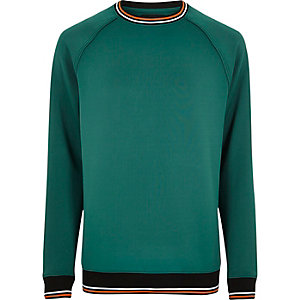 Groen sweatshirt met sportief gestreepte boorden