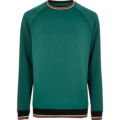 Green sporty tipped sweatshirt